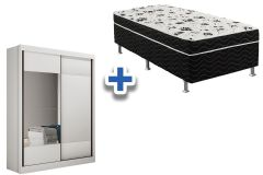 Guarda Roupa Novo Horizonte Falco+Cama Box Ortobom Union