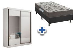 Guarda Roupa Novo Horizonte Falco+Cama Box Ortobom Fort Tech