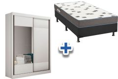 Guarda Roupa Novo Horizonte Falco+Cama Box Ortobom Light