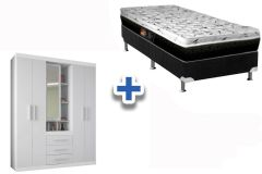 Guarda Roupa Star 5.3+Cama Box Castor Bonnel System Class