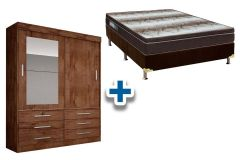 Guarda Roupa Novo Horizonte Sonar+Cama Box Ortobom Light