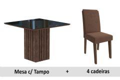 Sala de Jantar Cimol Mesa Ana 95cm 4 Cadeiras Tais c/Moldura