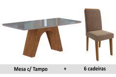 Sala de Jantar Cimol Clara 180cm+6 Cadeiras Taís c/Moldura