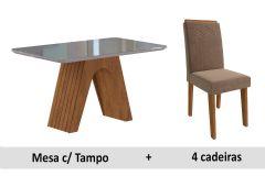 Sala de Jantar Cimol Clara 130cm+4 Cadeiras Taís c/Moldura