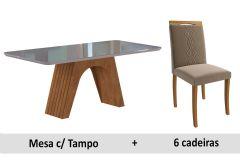 Sala de Jantar Cimol Mesa Clara 180cm + 6 Cadeiras Laura