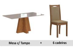 Sala de Jantar Cimol Mesa Patricia 160cm + 6 Cadeiras Lívia