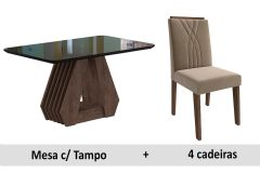 Sala de Jantar Cimol Mesa Ágata 130cm + 4 Cadeiras Nicole
