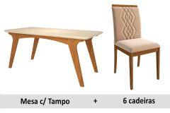 Sala de Jantar Cimol Mesa Selena 180cm + 6 Cadeiras Ágata