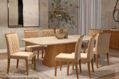 Sala de Jantar Cimol Mesa Helena 210cm + 8 Cadeiras Juliana
