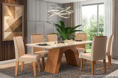 Sala de Jantar Cimol Mesa Clara 180cm + 6 Cadeiras Clarice