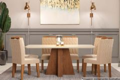 Sala de Jantar Cimol Mesa Maitê 160cm + 6 Cadeiras Paola