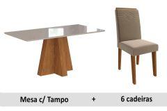 Sala de Jantar Cimol Patricia 160cm+6 Cadeiras Taís c/Moldura