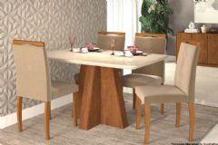 Sala de Jantar Cimol Mesa Maitê 130cm + 4 Cadeiras Laura