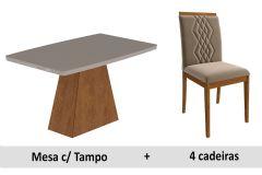 Sala de Jantar Cimol Mesa Helen 130cm + 4 Cadeiras Ágata