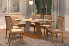 Sala de Jantar Cimol Mesa Alana 180cm + 6 Cadeiras Ágata