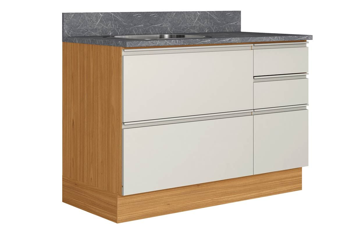 Gabinete de Cozinha Itatiaia Inova BALC-120 1PTH4G CRP/IT CZL PIA 1 Porta e 4 Gavetas