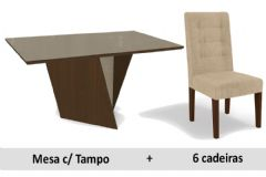 Sala De Jantar Kappesberg Jasmin + 6 Cadeiras CAD111