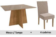 Sala De Jantar Kappesberg Mesa Lótus + 4 Cadeiras CAD133