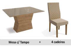 Sala De Jantar Kappesberg Mesa Camomila + 4 Cadeiras CAD132