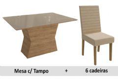 Sala De Jantar Kappesberg Mesa Cidra + 6 Cadeiras CAD134