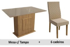 Sala De Jantar Kappesberg Mesa Cidra + 6 Cadeiras CAD132