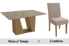 Sala De Jantar Kappesberg Mesa Romã + 6 Cadeiras CAD133