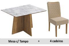 Sala De Jantar Kappesberg Mesa Lótus + 4 Cadeiras CAD129