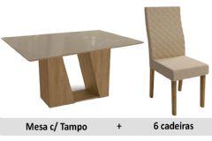 Sala De Jantar Kappesberg Mesa Romã + 6 Cadeiras CAD132