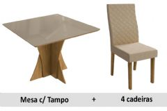 Sala De Jantar Kappesberg Mesa Figueira + 4 Cadeiras CAD133