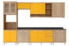 Cozinha Completa Modulada Multimóveis Sicília 5835 7 Peças (1 Paneleiro+3 Aéreos+3 Balcões)