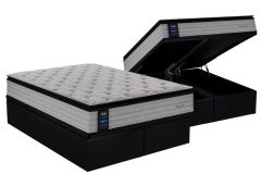 Conjunto Box Baú - Colchão Sealy de Molas Posturepedic Passion + Cama Box Baú Nobuck Nero Black