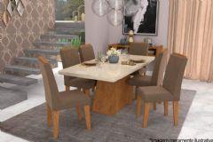 Sala de Jantar Cimol Mesa Helen 180cm + 6 Cadeiras Milena
