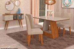 Sala de Jantar Cimol Mesa Alana 130cm + 4 Cadeiras Milena