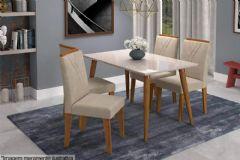 Sala de Jantar Cimol Mesa Adele 130cm + 4 Cadeiras Nicole