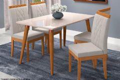 Sala de Jantar Cimol Mesa Adele 130cm + 4 Cadeiras Alice