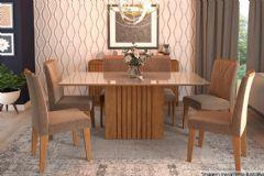 Sala de Jantar Cimol Mesa Ana 180cm + 6 Cadeiras Nicole