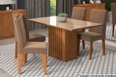 Sala de Jantar Cimol Ana 130cm+4 Cadeiras Milena c/ Moldura