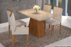 Sala de Jantar Cimol Mesa Helen 130cm + 4 Cadeiras Laura