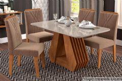 Sala de Jantar Cimol Ágata 130cm+4 Cadeiras Taís c/Moldura