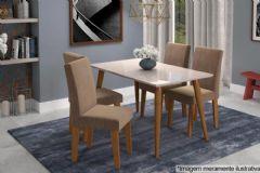 Sala de Jantar Cimol Mesa Adele 130cm + 4 Cadeiras Milena