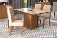 Sala de Jantar Cimol Mesa Ana 130cm + 4 Cadeiras Milena