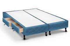 Cama Box Base Castor Poli c/ 2 Gavetas Azul