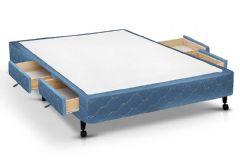 Cama Box Base Castor Poli c/ 4 Gavetas Azul