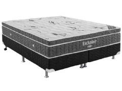 Conjunto Box - Colchão Ortobom de Molas Bonnel Nanolastic Exclusive + Cama Box Universal Courino Black